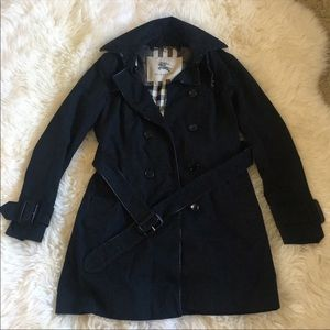 Authentic Burberry Black Trench Leather Trim Coat
